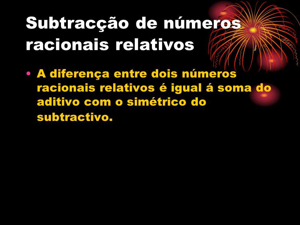 Subtracção de números racionais relativos