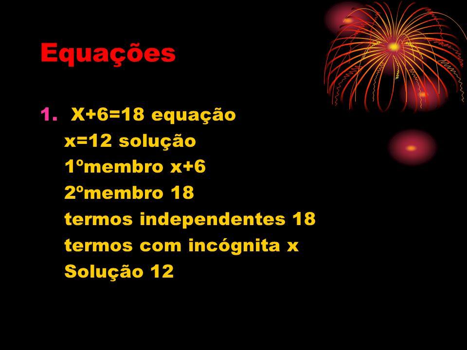 Equações X+6=18 equação x=12 solução 1ºmembro x+6 2ºmembro 18
