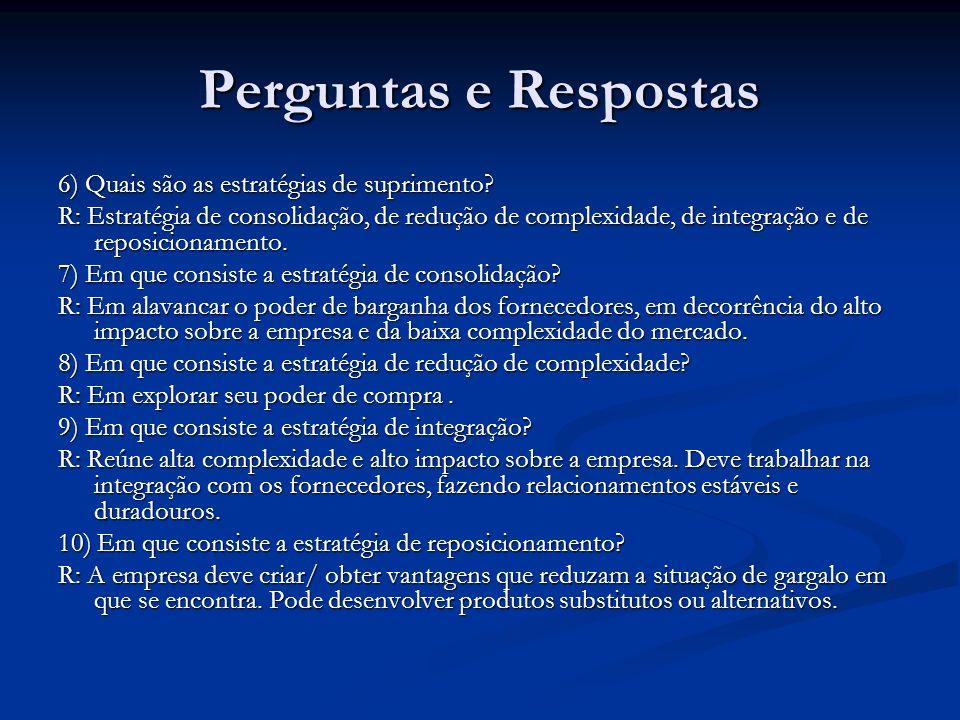 Perguntas e Respostas 6) Quais são as estratégias de suprimento