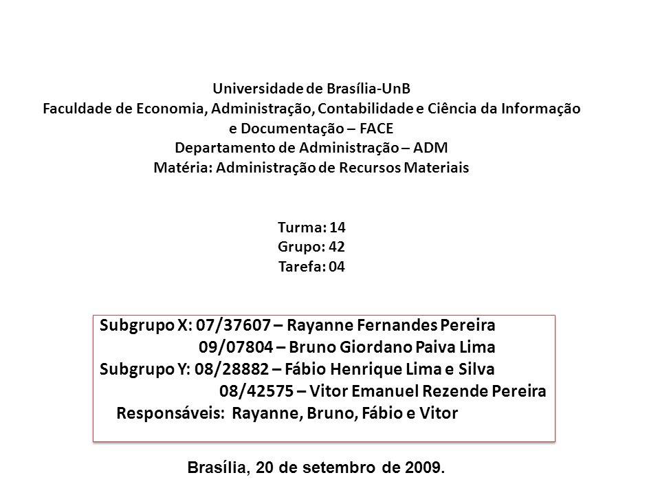Subgrupo X: 07/37607 – Rayanne Fernandes Pereira
