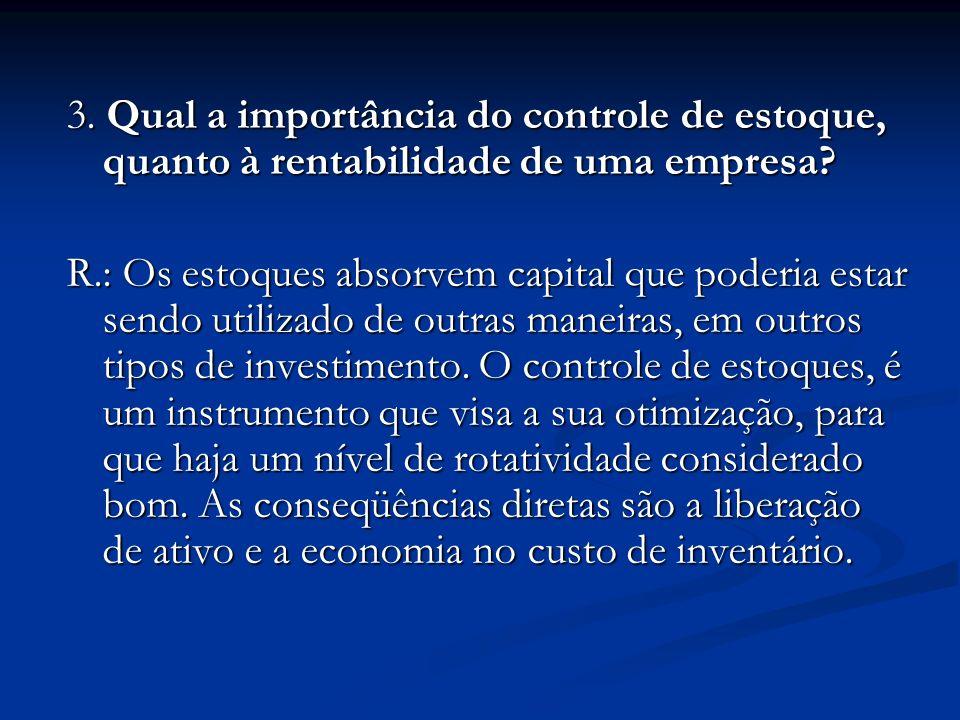 3. Qual a importância do controle de estoque, quanto à rentabilidade de uma empresa