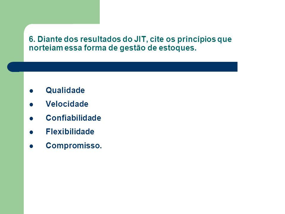 6. Diante dos resultados do JIT, cite os princípios que norteiam essa forma de gestão de estoques.