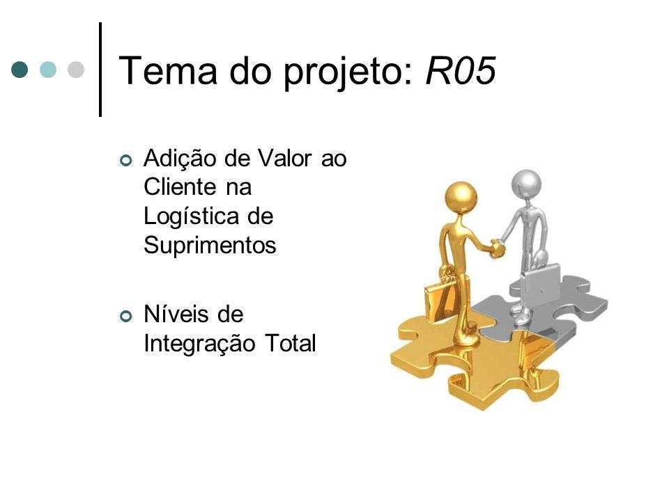 Tema do projeto: R05Adição de Valor ao Cliente na Logística de Suprimentos.