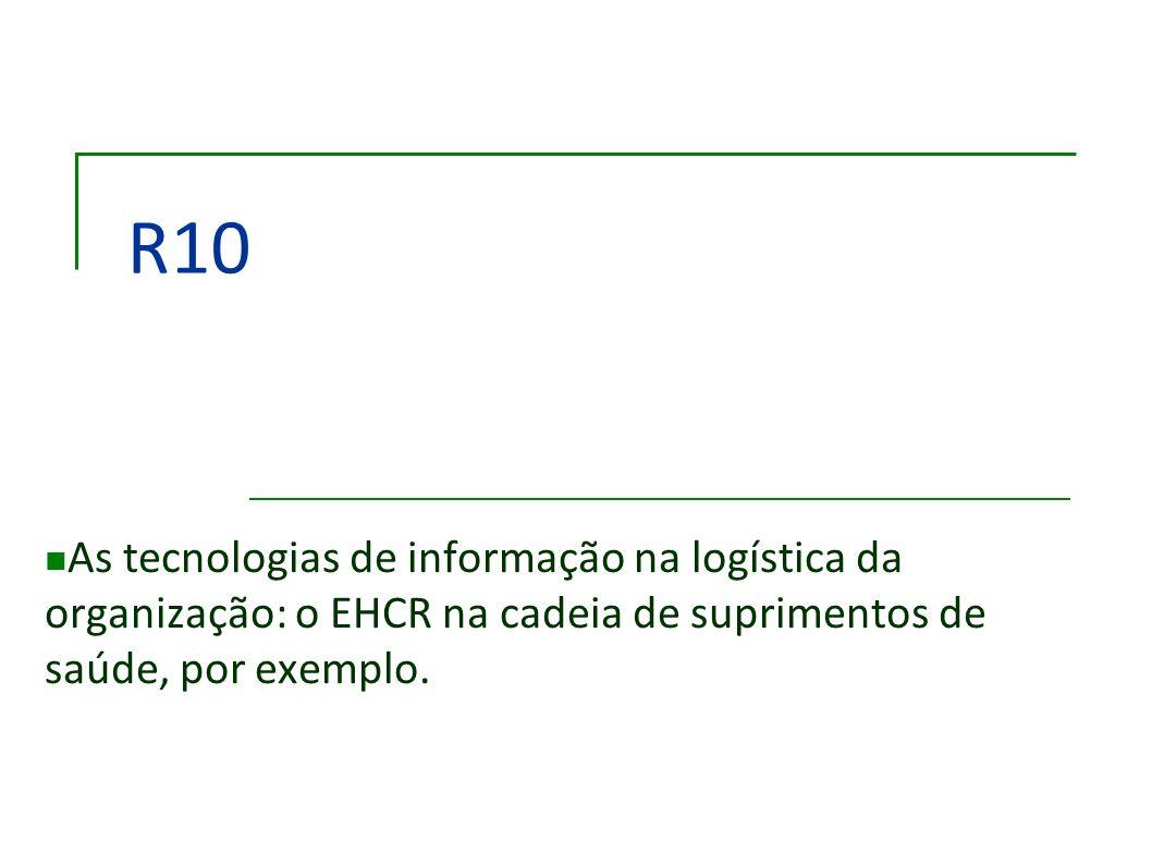 R10As tecnologias de informação na logística da organização: o EHCR na cadeia de suprimentos de saúde, por exemplo.