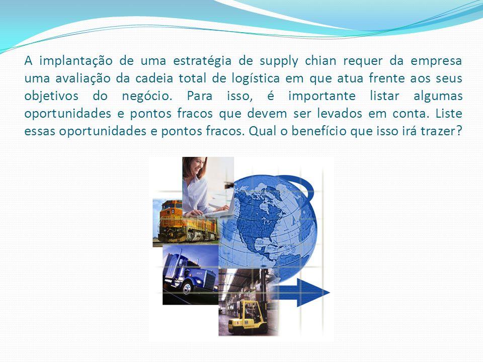 A implantação de uma estratégia de supply chian requer da empresa uma avaliação da cadeia total de logística em que atua frente aos seus objetivos do negócio.