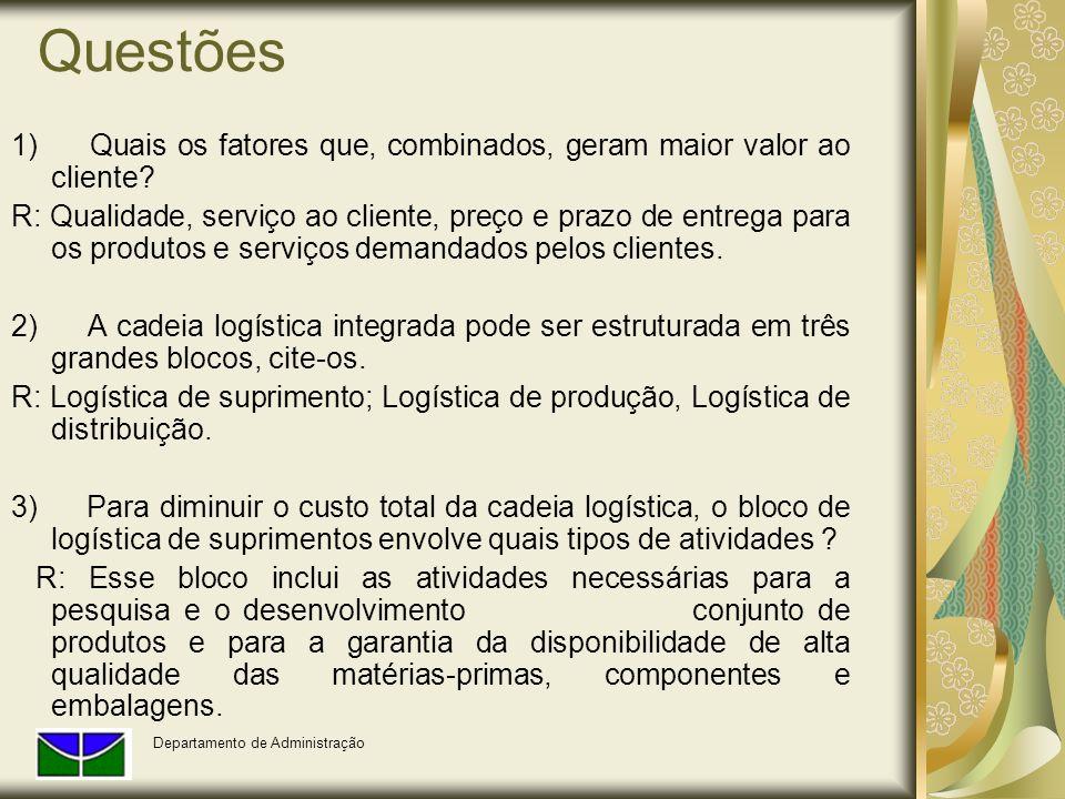 Questões 1) Quais os fatores que, combinados, geram maior valor ao cliente