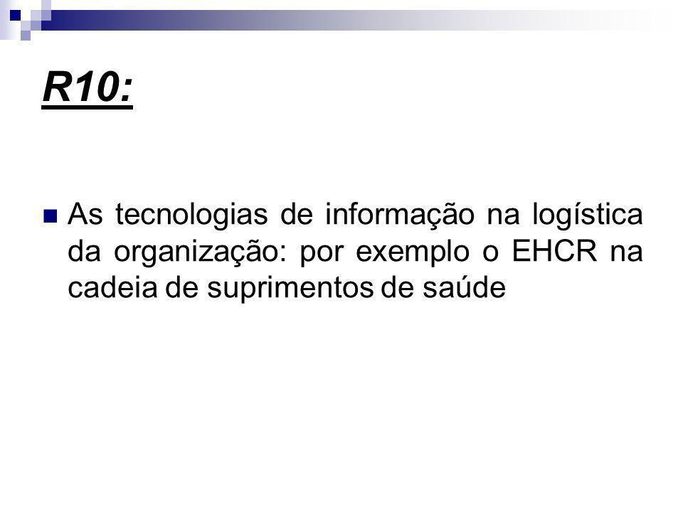 R10: As tecnologias de informação na logística da organização: por exemplo o EHCR na cadeia de suprimentos de saúde.