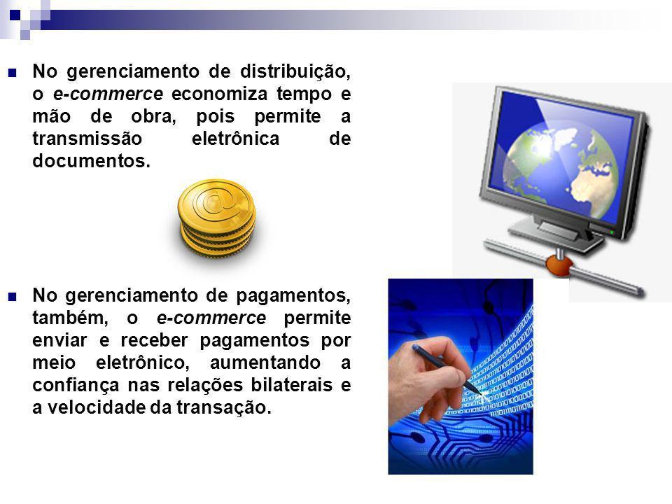 No gerenciamento de distribuição, o e-commerce economiza tempo e mão de obra, pois permite a transmissão eletrônica de documentos.