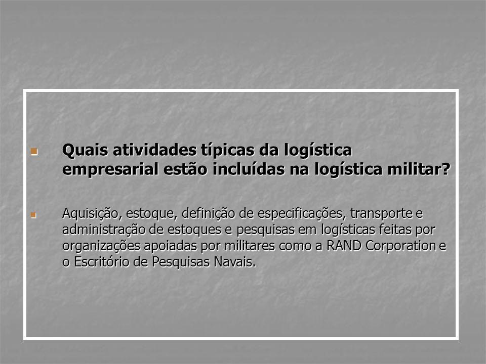 Quais atividades típicas da logística empresarial estão incluídas na logística militar