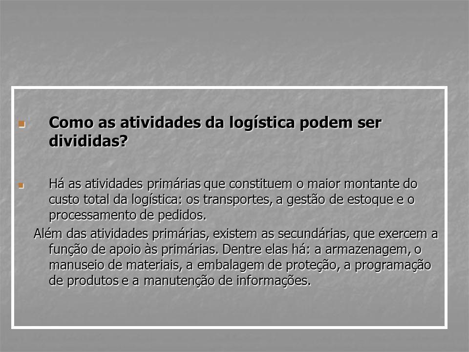 Como as atividades da logística podem ser divididas