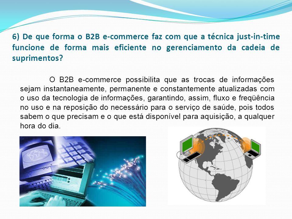 6) De que forma o B2B e-commerce faz com que a técnica just-in-time funcione de forma mais eficiente no gerenciamento da cadeia de suprimentos
