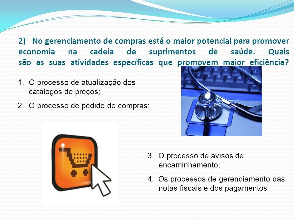 2) No gerenciamento de compras está o maior potencial para promover economia na cadeia de suprimentos de saúde. Quais são as suas atividades específicas que promovem maior eficiência