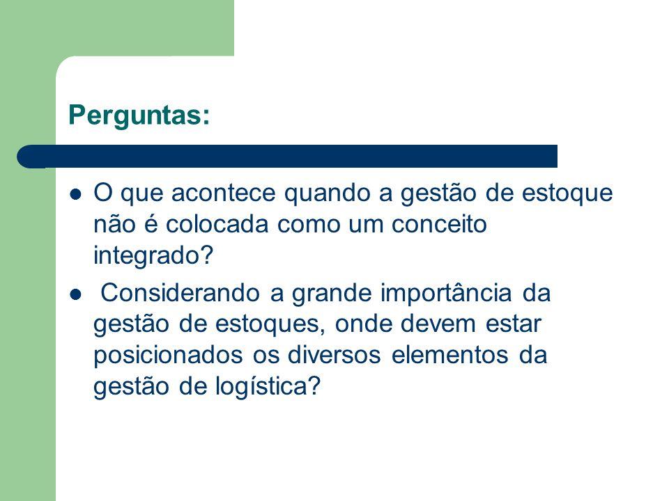 Perguntas: O que acontece quando a gestão de estoque não é colocada como um conceito integrado