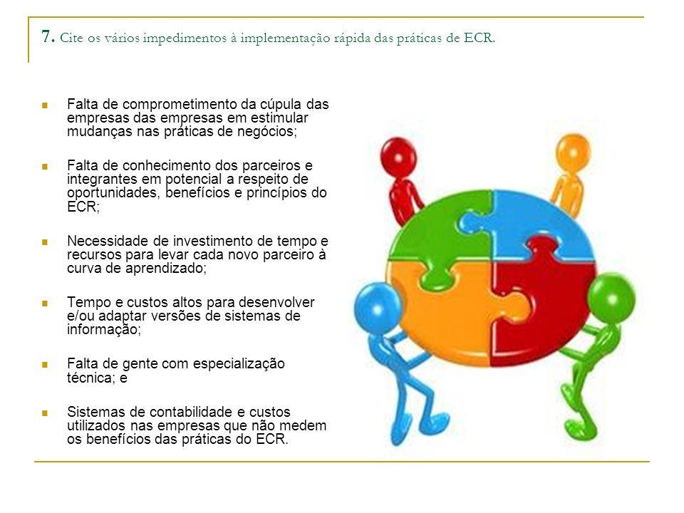 7. Cite os vários impedimentos à implementação rápida das práticas de ECR.