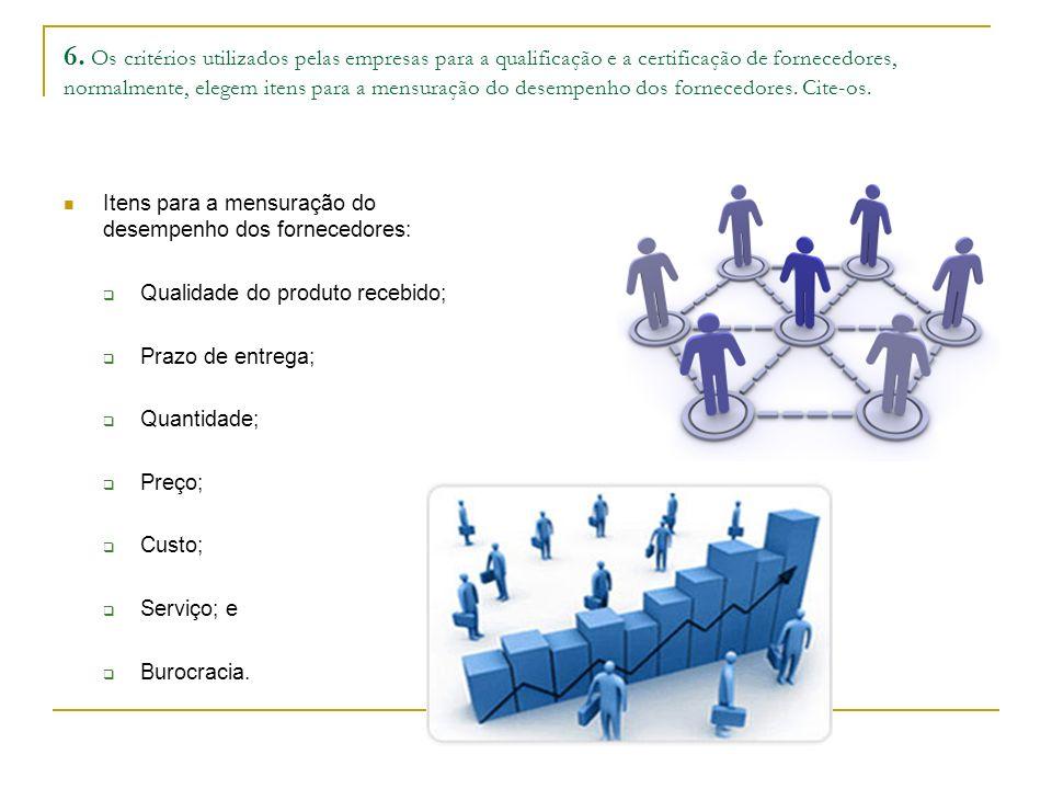 6. Os critérios utilizados pelas empresas para a qualificação e a certificação de fornecedores, normalmente, elegem itens para a mensuração do desempenho dos fornecedores. Cite-os.