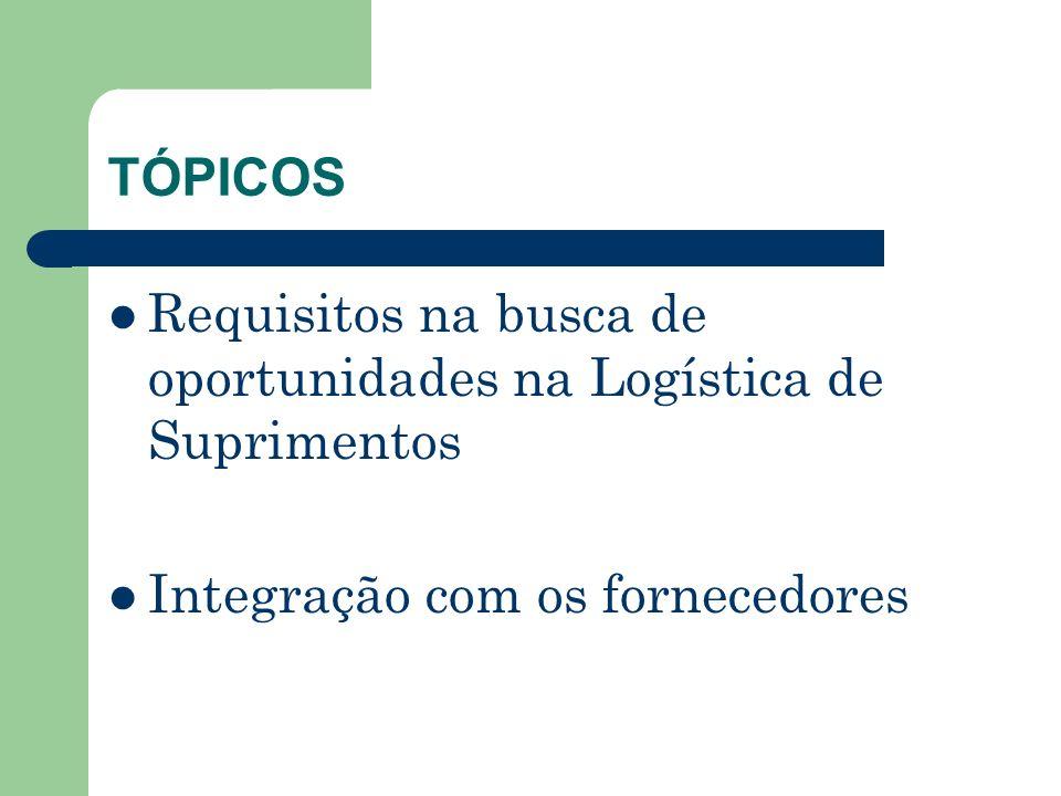 TÓPICOS Requisitos na busca de oportunidades na Logística de Suprimentos.