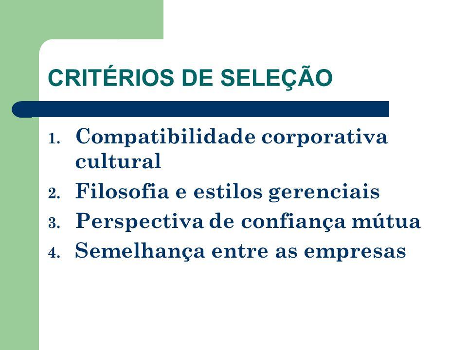 CRITÉRIOS DE SELEÇÃO Compatibilidade corporativa cultural