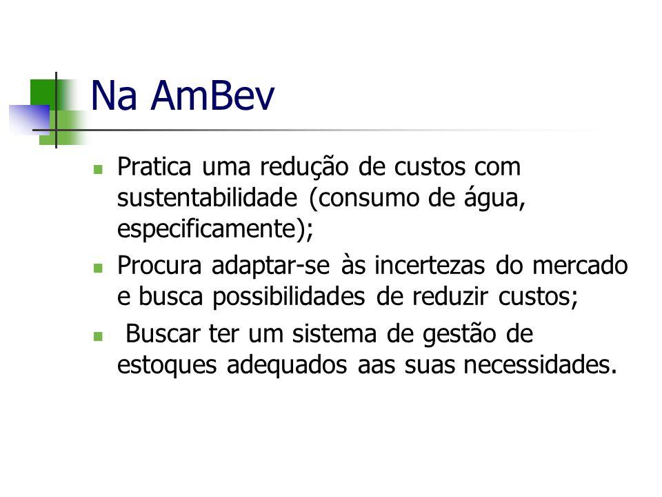 Na AmBev Pratica uma redução de custos com sustentabilidade (consumo de água, especificamente);