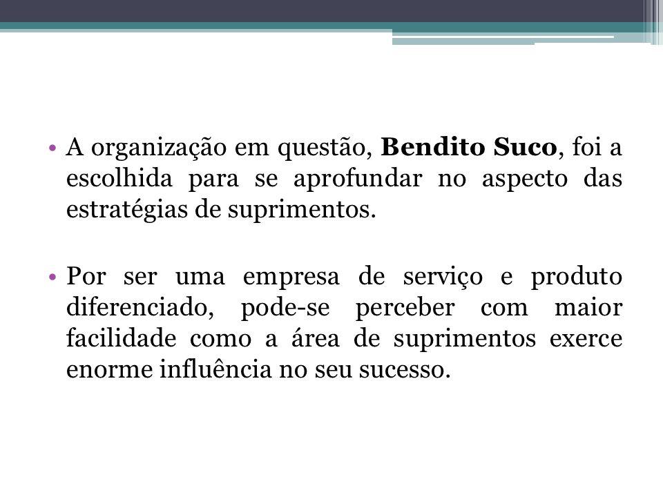 A organização em questão, Bendito Suco, foi a escolhida para se aprofundar no aspecto das estratégias de suprimentos.