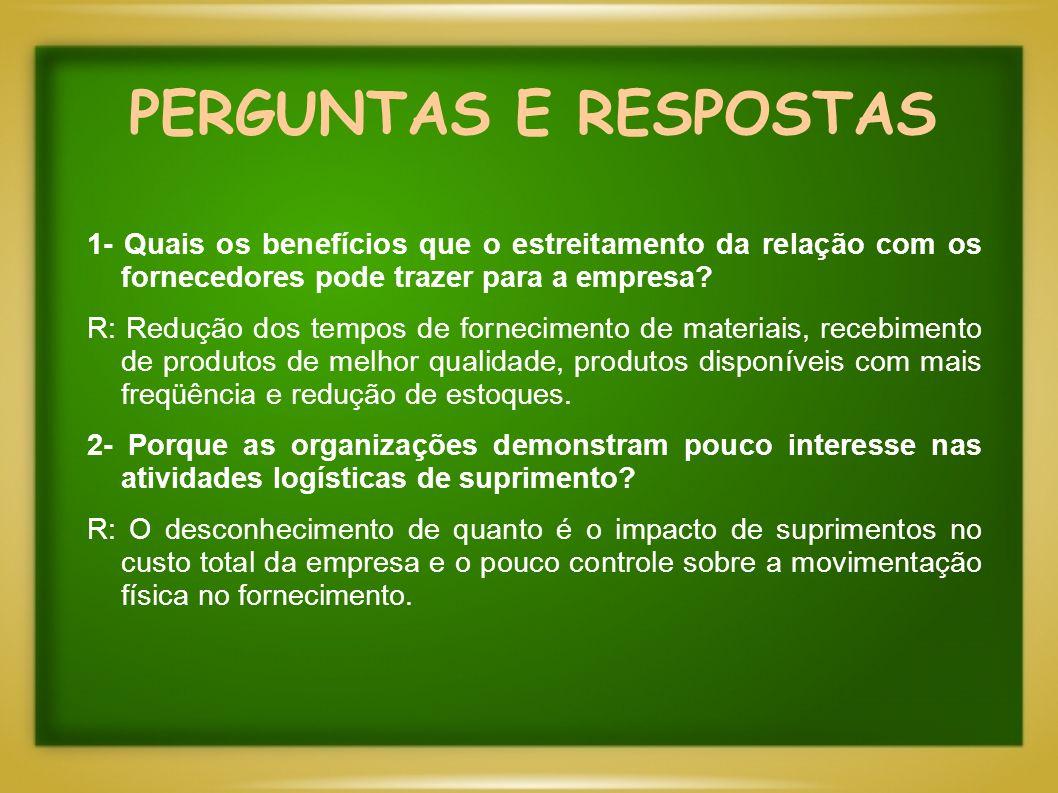 PERGUNTAS E RESPOSTAS 1- Quais os benefícios que o estreitamento da relação com os fornecedores pode trazer para a empresa