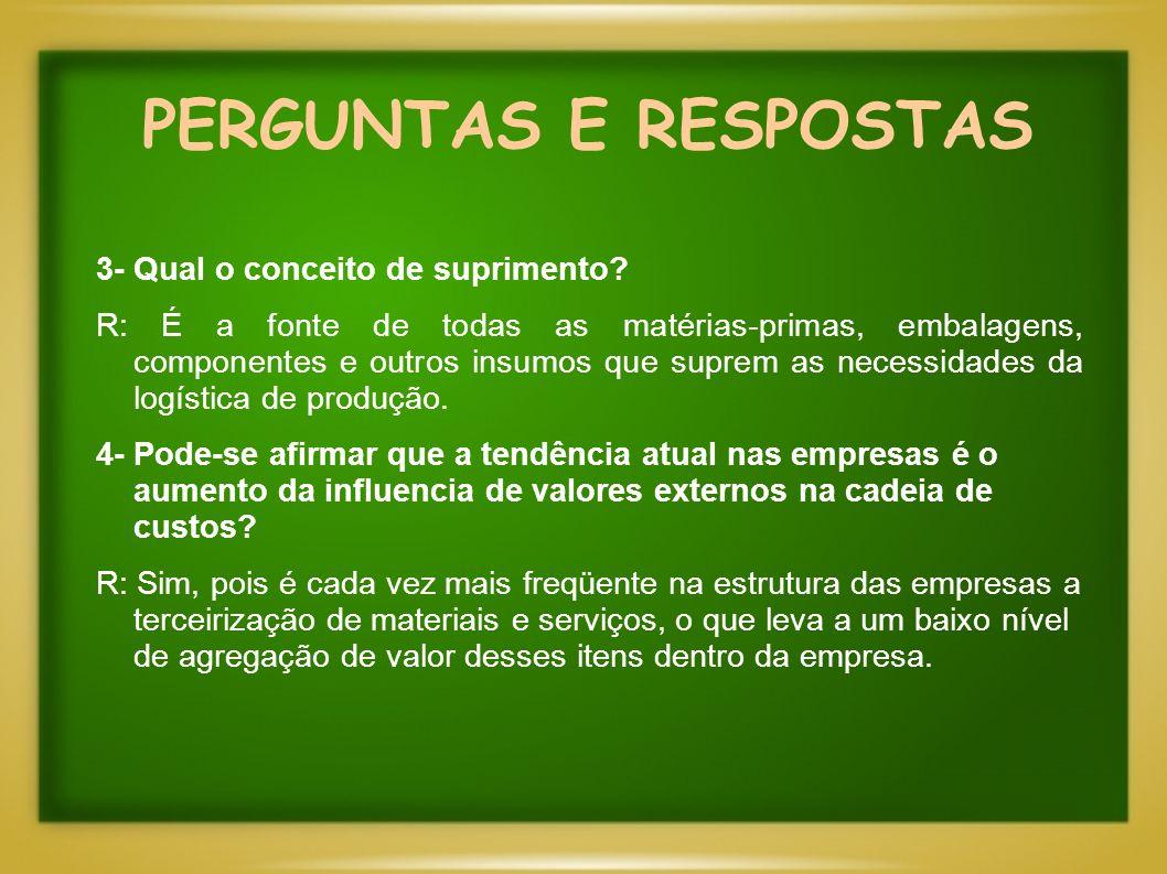 PERGUNTAS E RESPOSTAS 3- Qual o conceito de suprimento