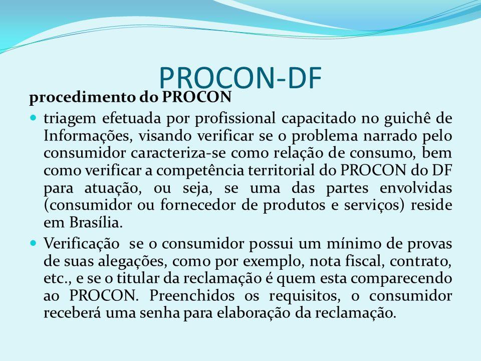 PROCON-DF procedimento do PROCON