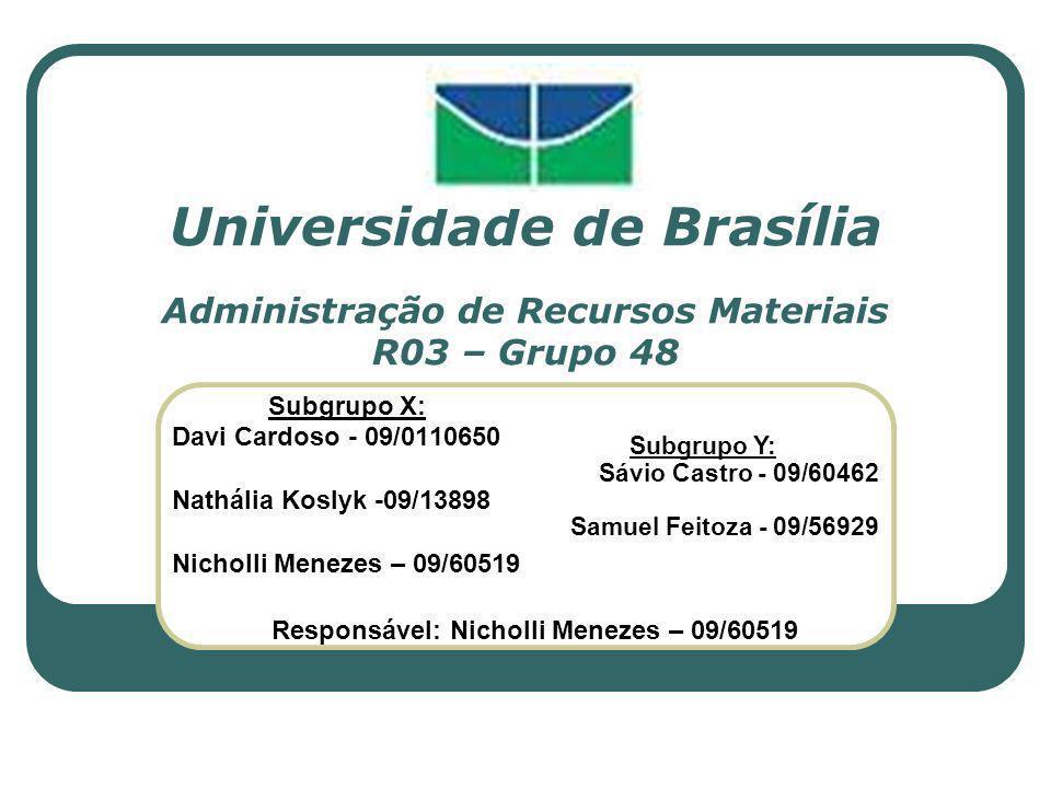 Universidade de Brasília Administração de Recursos Materiais R03 – Grupo 48