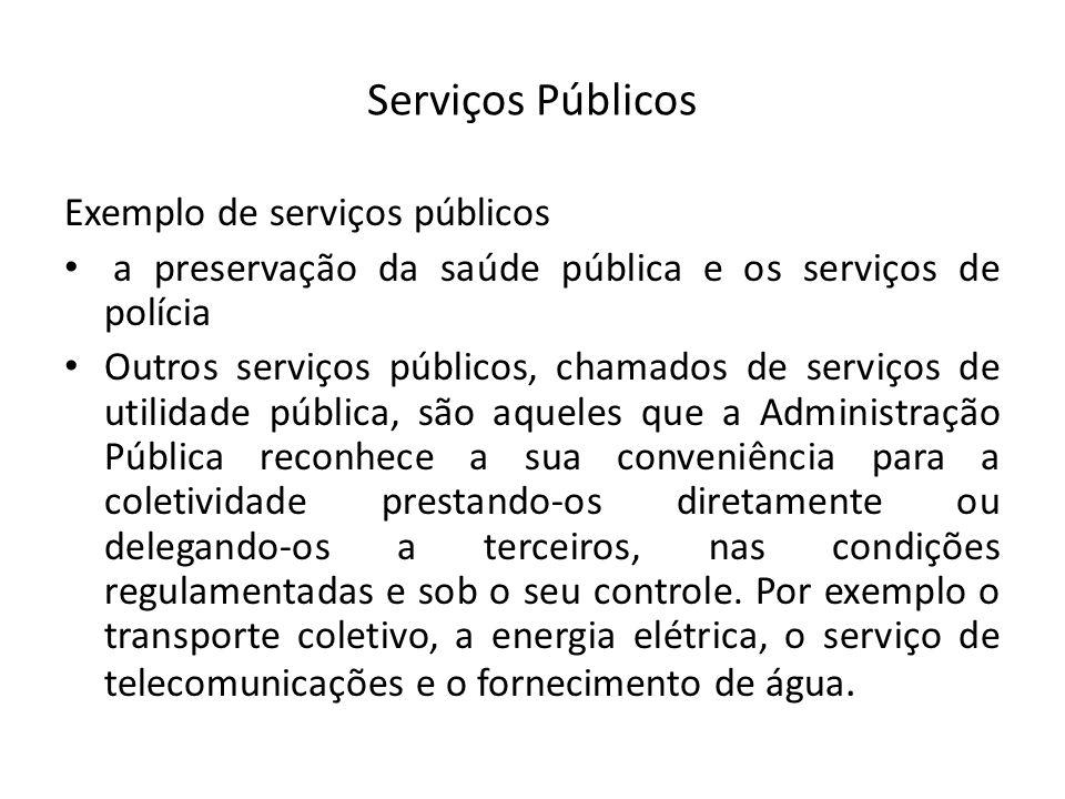 Serviços Públicos Exemplo de serviços públicos