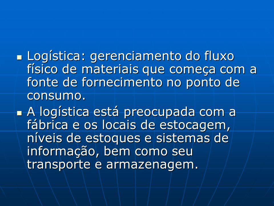 Logística: gerenciamento do fluxo físico de materiais que começa com a fonte de fornecimento no ponto de consumo.