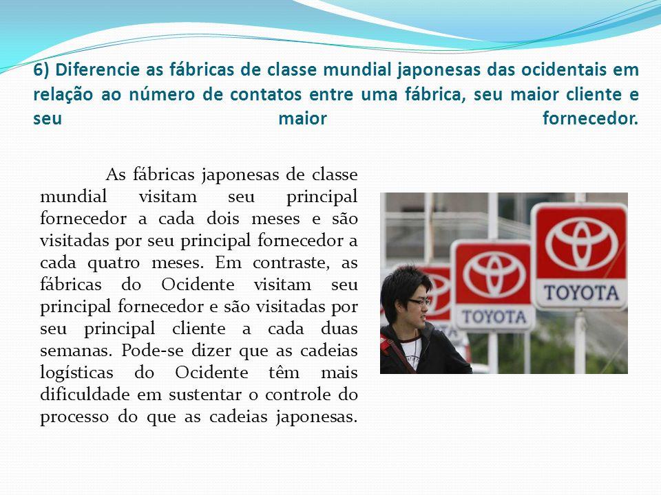 6) Diferencie as fábricas de classe mundial japonesas das ocidentais em relação ao número de contatos entre uma fábrica, seu maior cliente e seu maior fornecedor.
