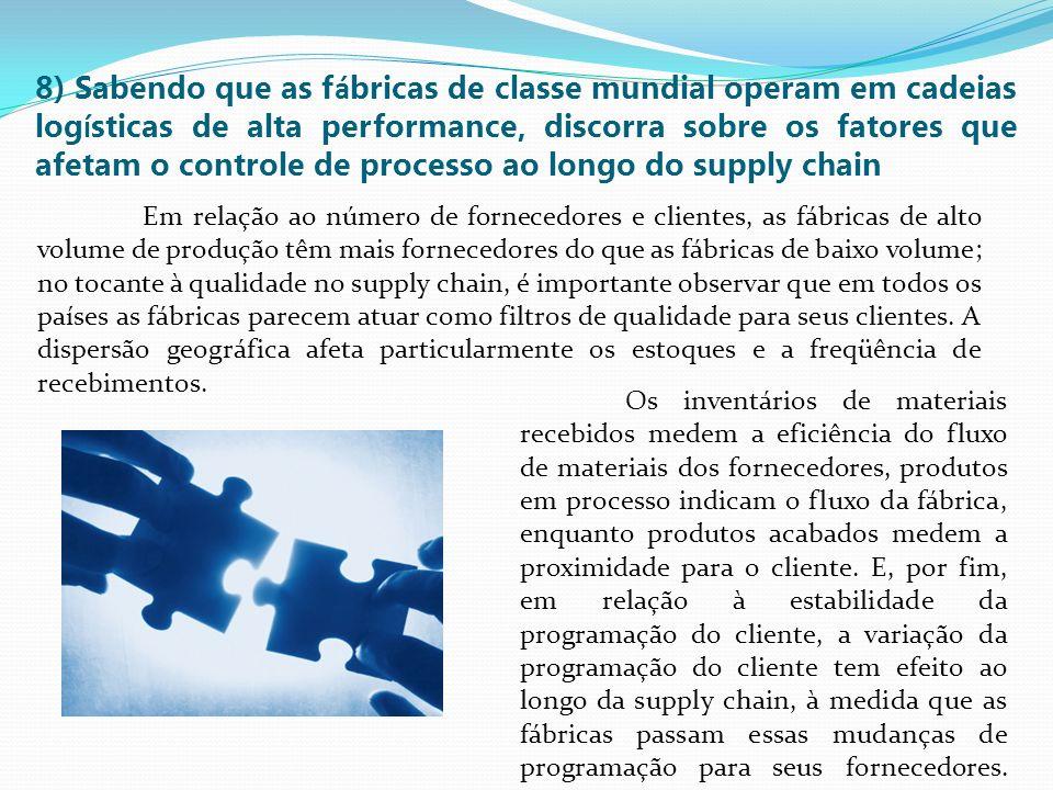 8) Sabendo que as fábricas de classe mundial operam em cadeias logísticas de alta performance, discorra sobre os fatores que afetam o controle de processo ao longo do supply chain