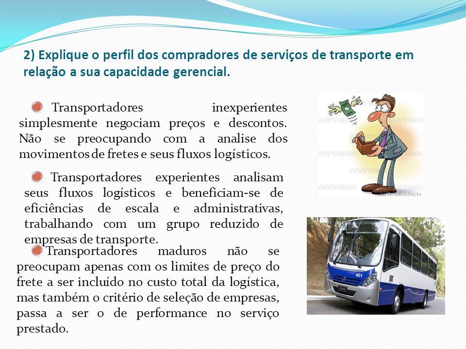 2) Explique o perfil dos compradores de serviços de transporte em relação a sua capacidade gerencial.