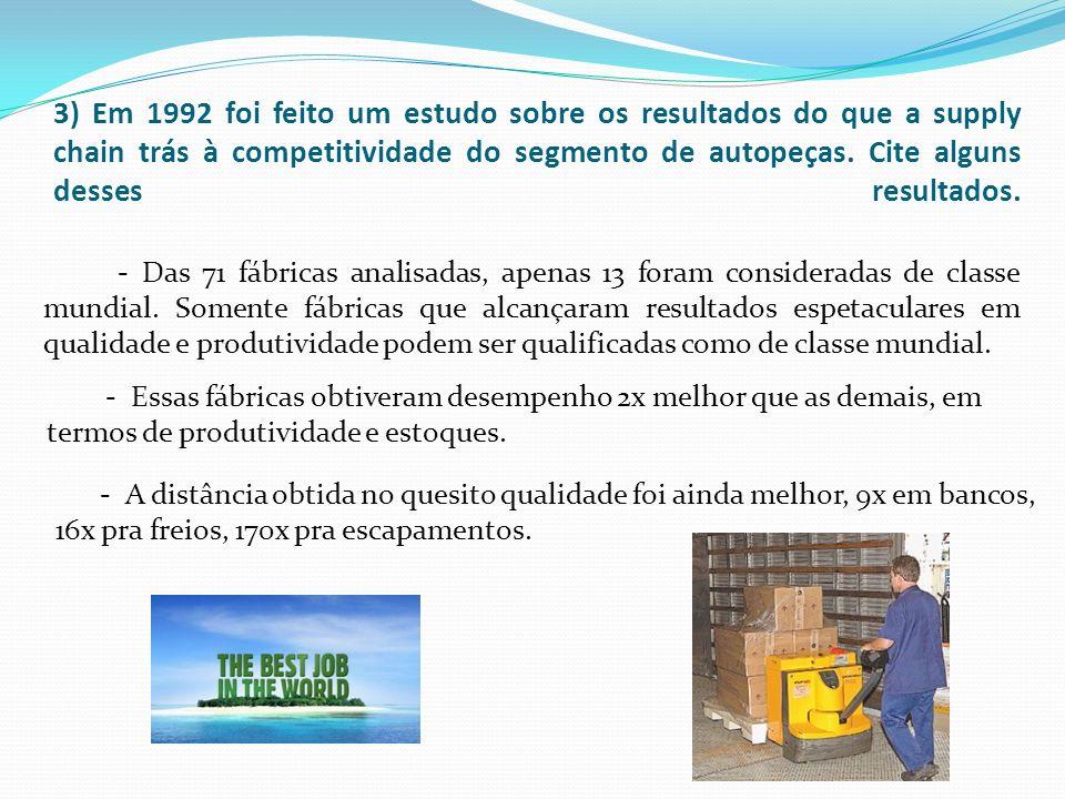 3) Em 1992 foi feito um estudo sobre os resultados do que a supply chain trás à competitividade do segmento de autopeças. Cite alguns desses resultados.