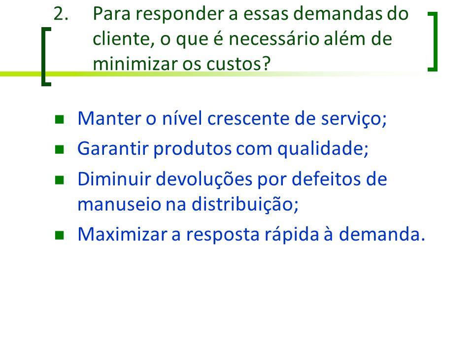 Para responder a essas demandas do cliente, o que é necessário além de minimizar os custos