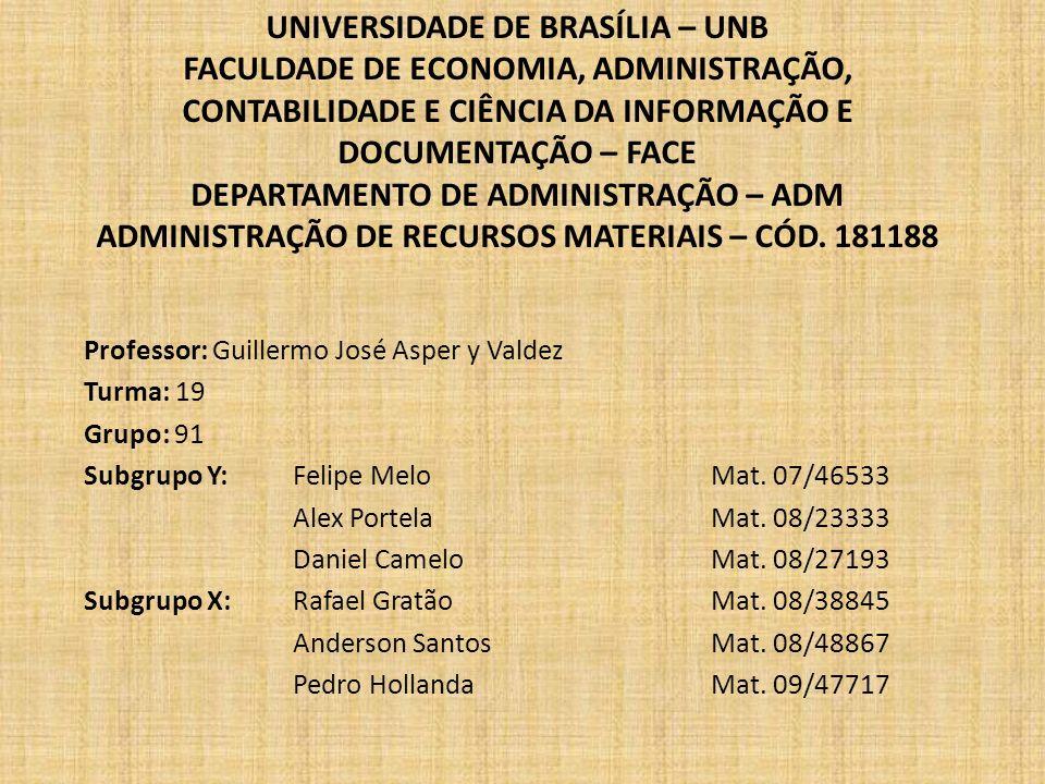 UNIVERSIDADE DE BRASÍLIA – UNB FACULDADE DE ECONOMIA, ADMINISTRAÇÃO, CONTABILIDADE E CIÊNCIA DA INFORMAÇÃO E DOCUMENTAÇÃO – FACE DEPARTAMENTO DE ADMINISTRAÇÃO – ADM ADMINISTRAÇÃO DE RECURSOS MATERIAIS – CÓD. 181188