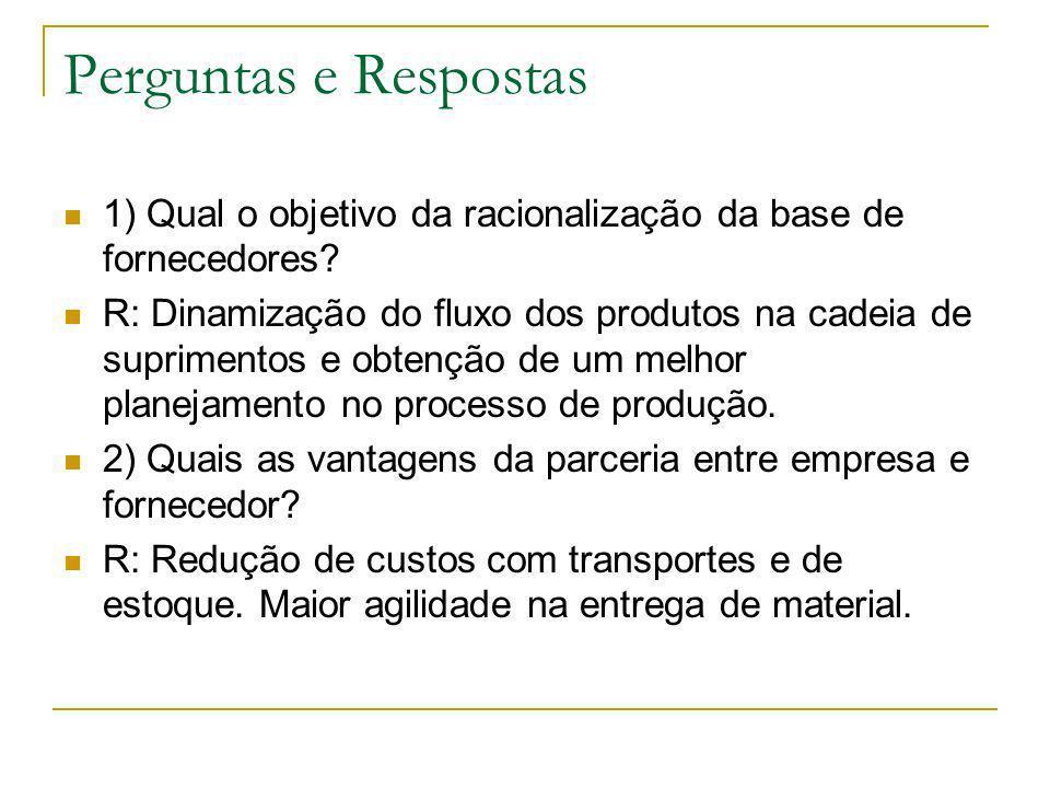 Perguntas e Respostas 1) Qual o objetivo da racionalização da base de fornecedores