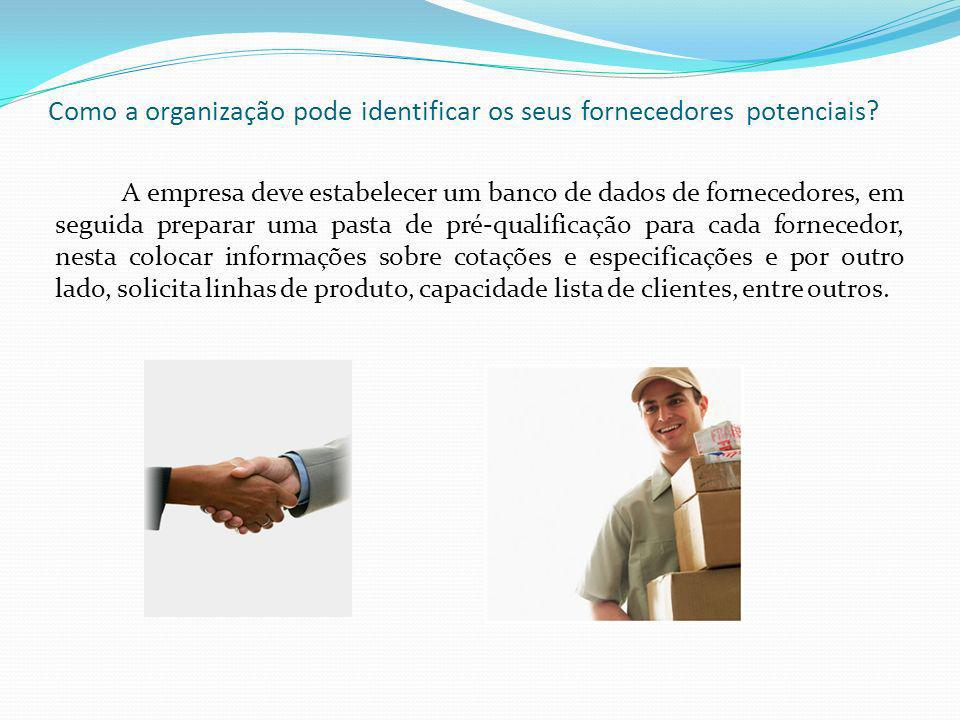 Como a organização pode identificar os seus fornecedores potenciais