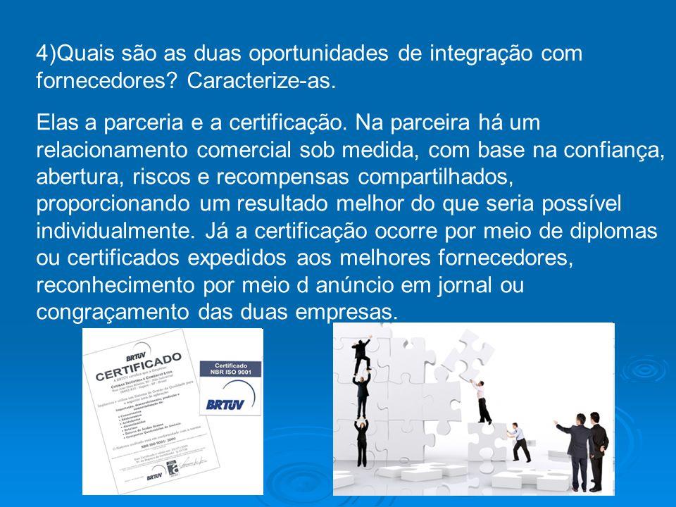 4)Quais são as duas oportunidades de integração com fornecedores