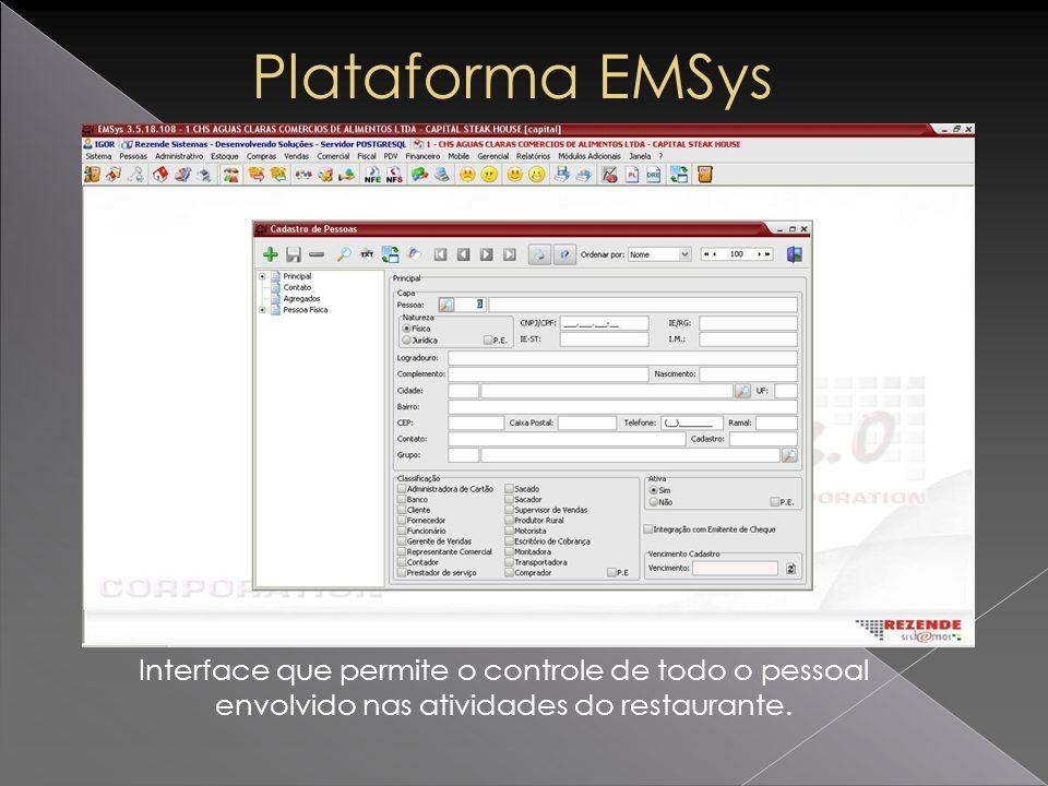 Plataforma EMSys Interface que permite o controle de todo o pessoal envolvido nas atividades do restaurante.