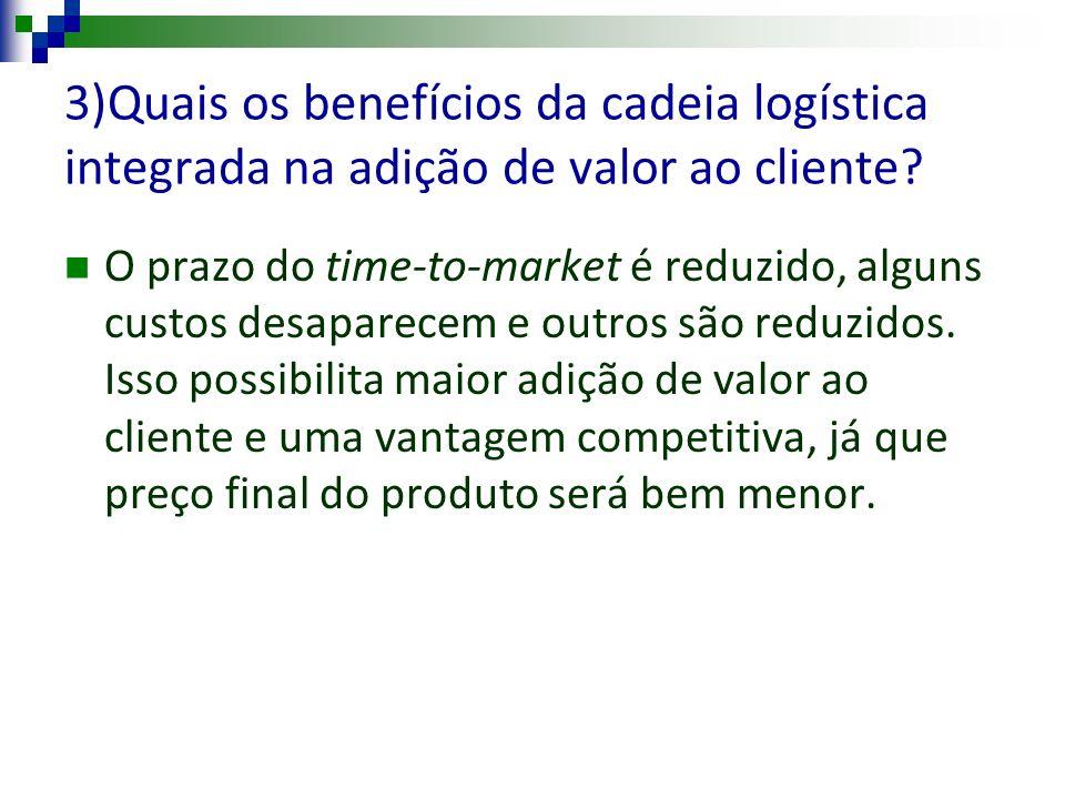 3)Quais os benefícios da cadeia logística integrada na adição de valor ao cliente