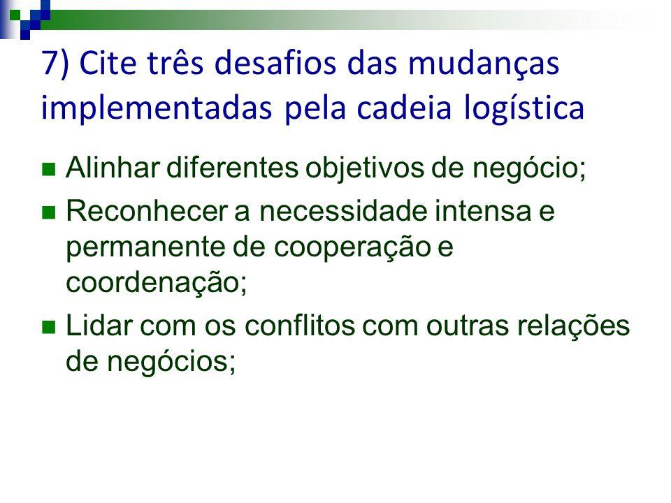 7) Cite três desafios das mudanças implementadas pela cadeia logística