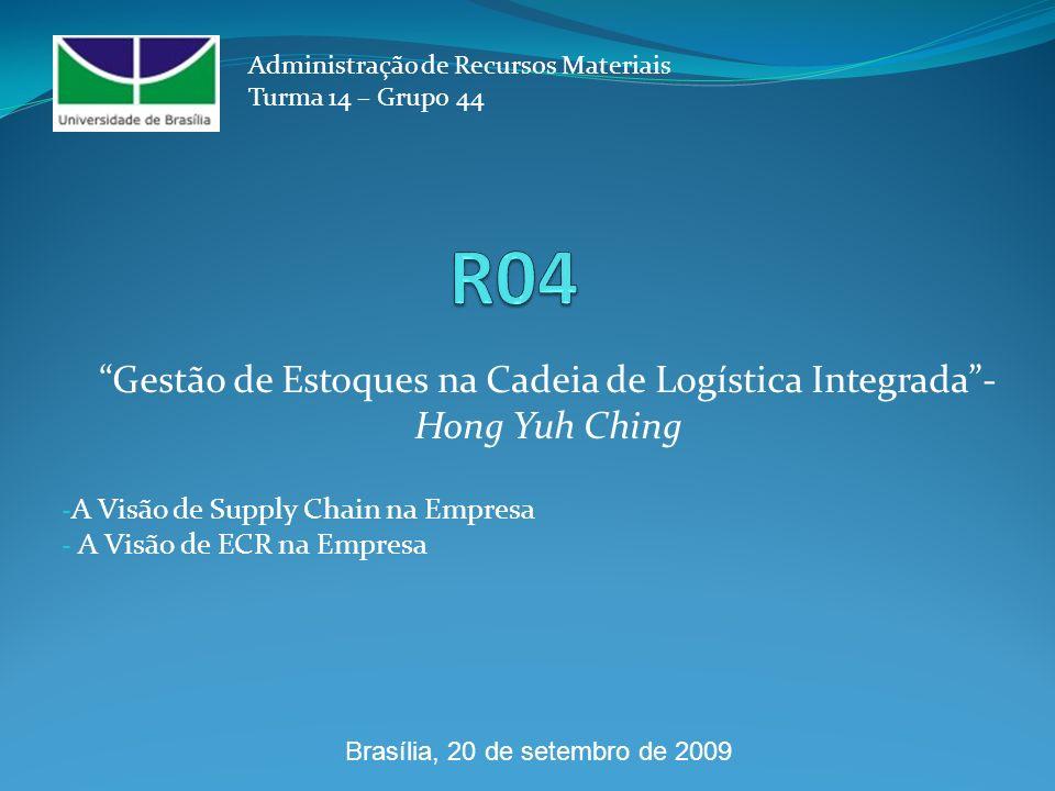 A Visão de Supply Chain na Empresa A Visão de ECR na Empresa