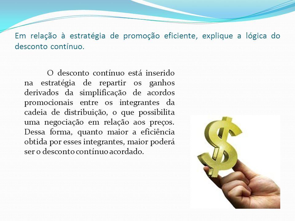 Em relação à estratégia de promoção eficiente, explique a lógica do desconto contínuo.