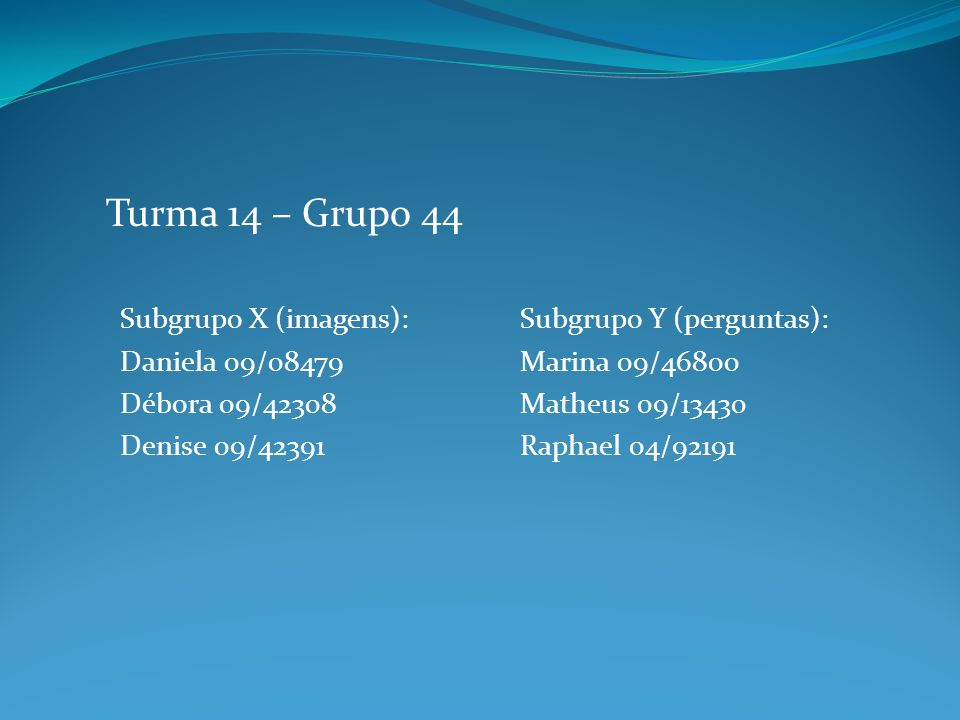 Subgrupo X (imagens): Daniela 09/08479 Débora 09/42308 Denise 09/42391