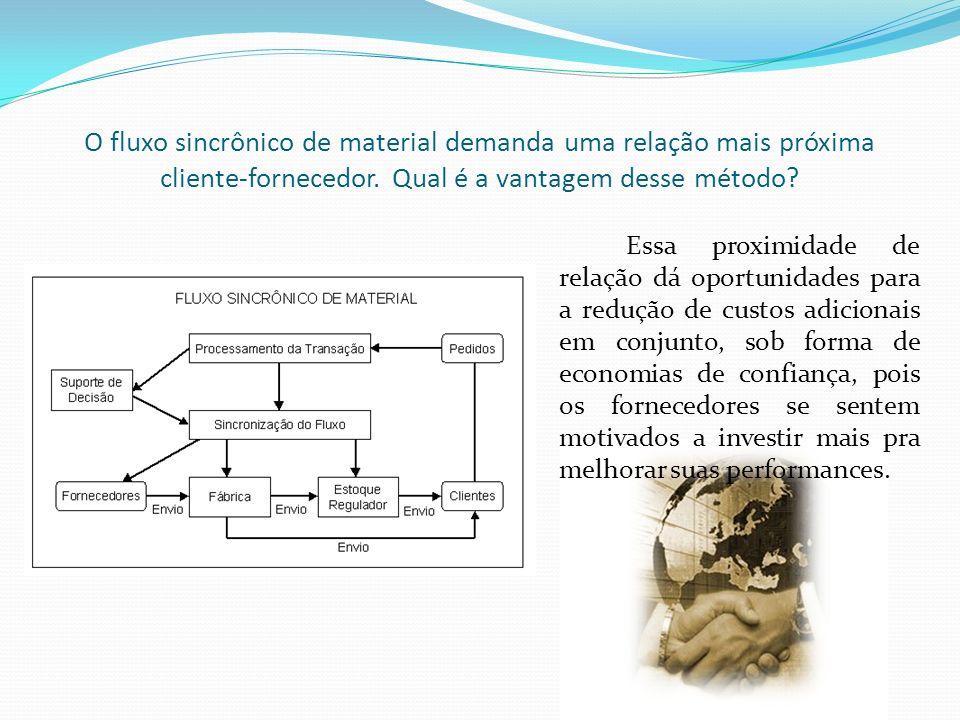 O fluxo sincrônico de material demanda uma relação mais próxima cliente-fornecedor. Qual é a vantagem desse método