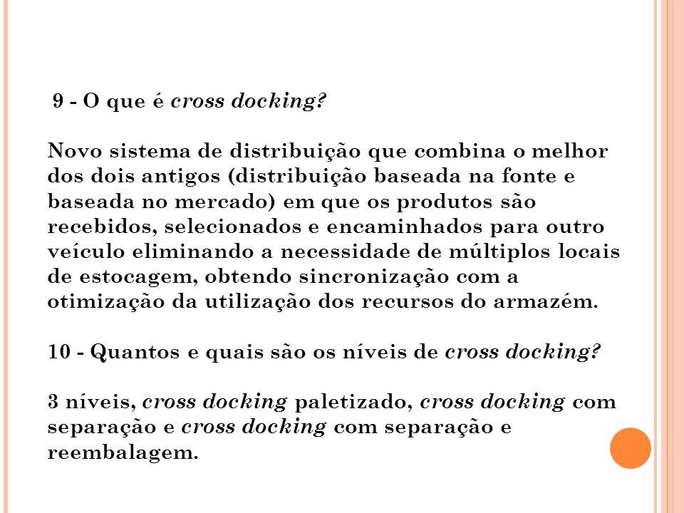 10 - Quantos e quais são os níveis de cross docking