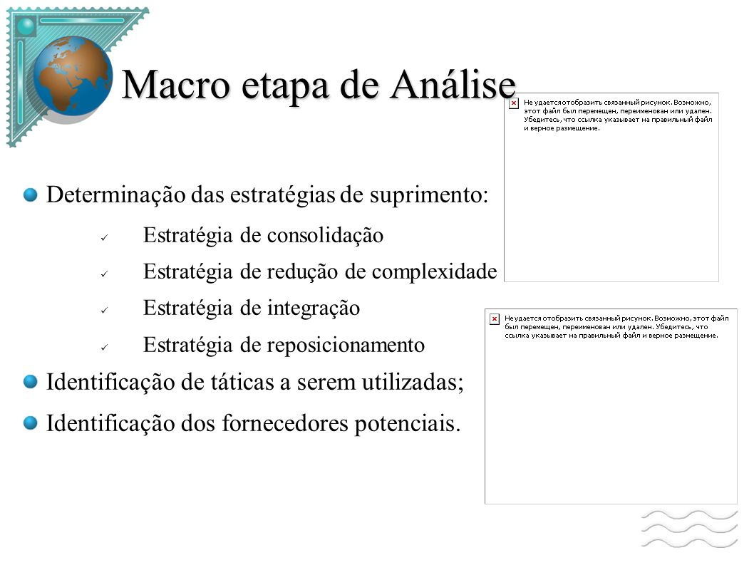 Macro etapa de Análise Determinação das estratégias de suprimento: