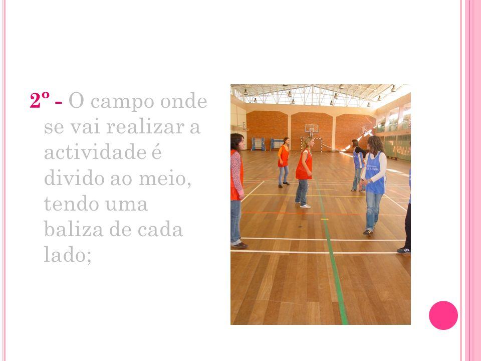 2º - O campo onde se vai realizar a actividade é divido ao meio, tendo uma baliza de cada lado;