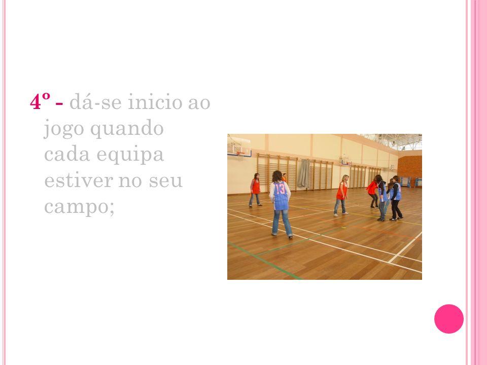 4º - dá-se inicio ao jogo quando cada equipa estiver no seu campo;