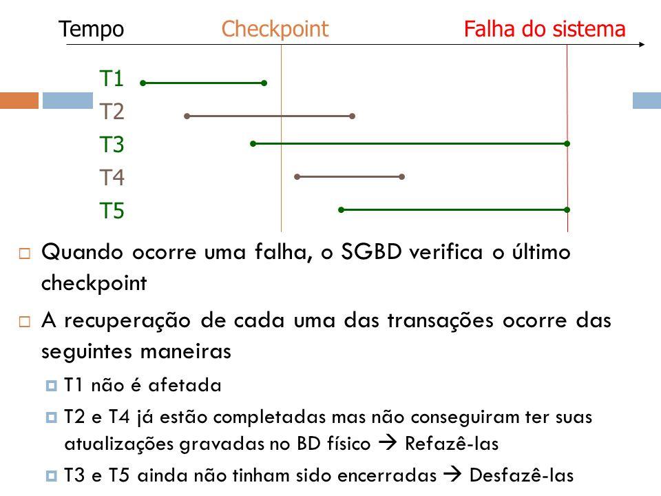 Quando ocorre uma falha, o SGBD verifica o último checkpoint